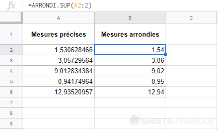 google sheets fonction arrondi sup 2 decimales