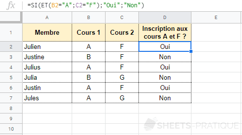 google sheets fonctions et si