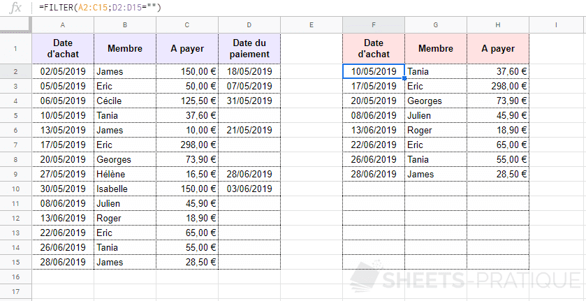 google sheets fonction filter tableau