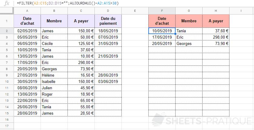 google sheets fonction filtrer tableau filter
