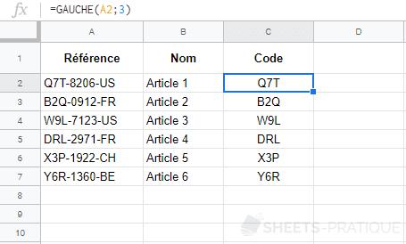 google-sheets-fonction-gauche-extraire - gauche