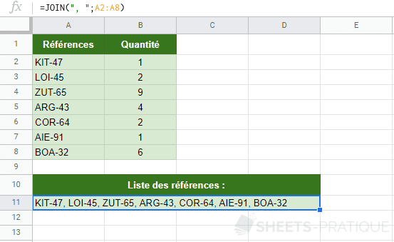 google sheets fonction join cellules