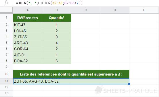 google sheets fonction join filter