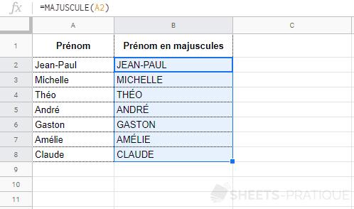 google sheets fonction majuscule recopie