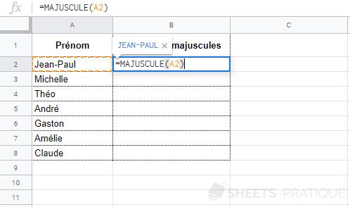 google sheets fonction majuscule