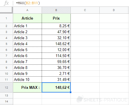 google sheets fonction max prix