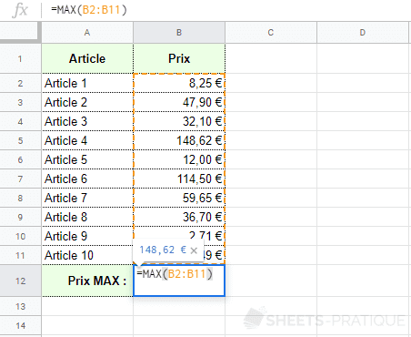 google sheets fonction max