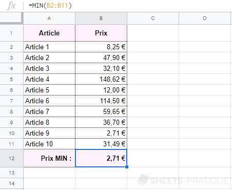google-sheets-fonction-min-prix - min
