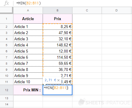 google sheets fonction min