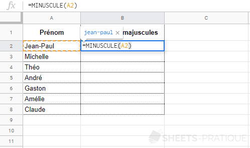 google sheets fonction minuscule