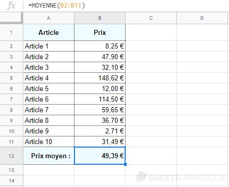 google sheets fonction moyenne nombres
