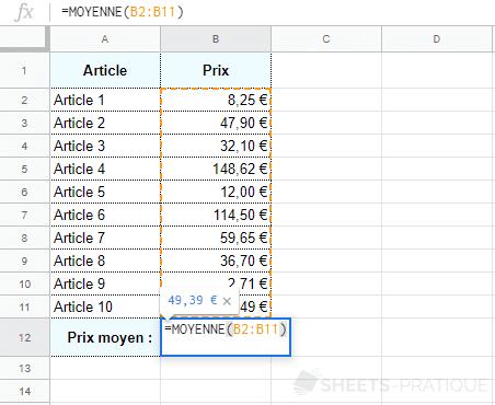 google sheets fonction moyenne