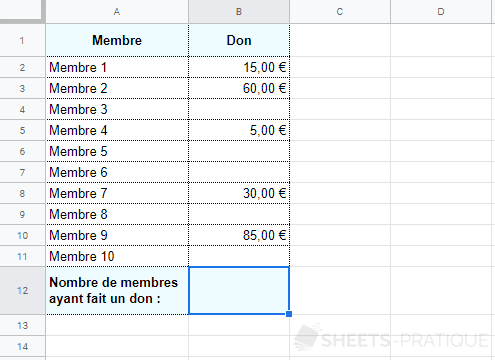 google sheets fonction nb