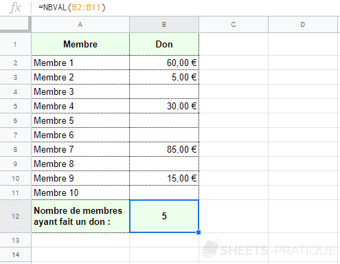 google sheets fonction nbval non vide