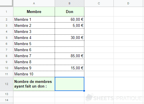 google sheets fonction nbval