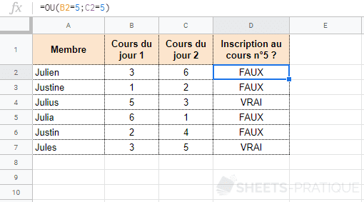 google-sheets-fonction-ou - ou