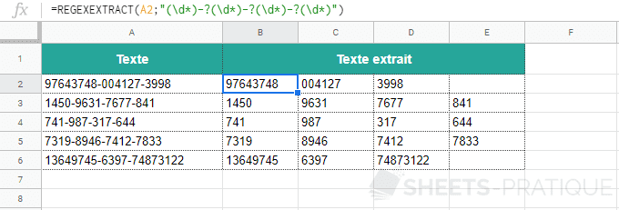 google sheets fonction regexextract extraire plusieurs chaines