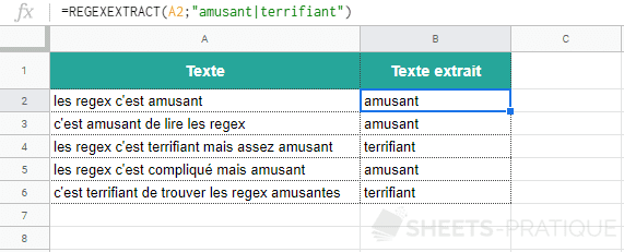 google sheets fonction regexextract mot