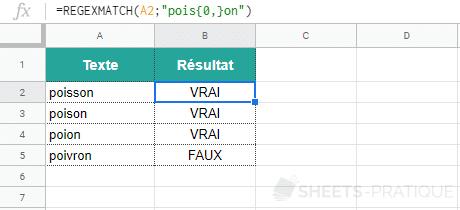 google sheets fonction regexmatch classe caracteres quantite 2