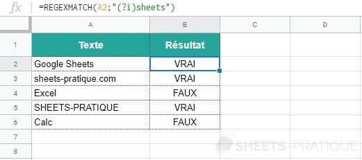 google sheets fonction regexmatch insensible casse 2