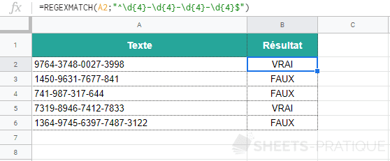 google sheets fonction regexmatch numero licence 3