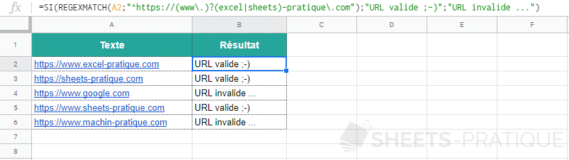 google sheets fonction regexmatch si 3
