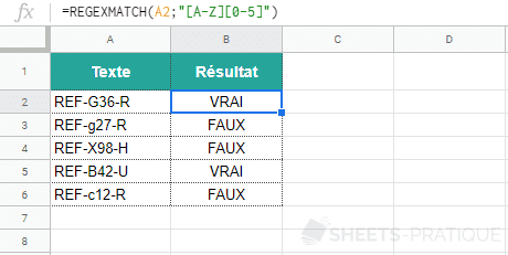 google sheets fonction regexmatch classe caracteres plages