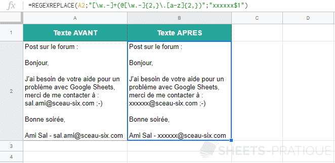 google sheets fonction regexreplace masquer email