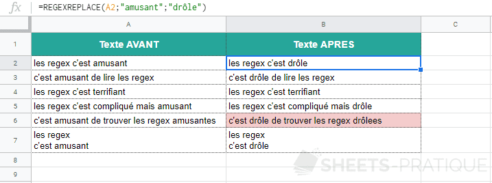 google sheets fonction regexreplace mot