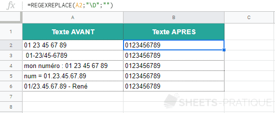 google sheets fonction regexreplace numeros telephone