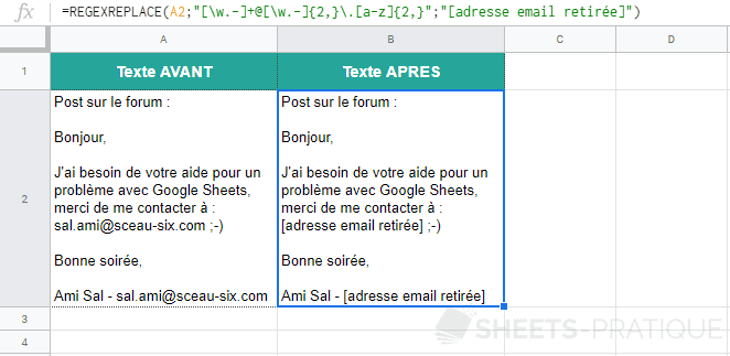 google sheets fonction regexreplace remplacer email