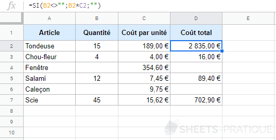 google sheets fonction si non vide