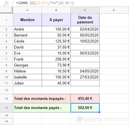 google sheets somme si non vide