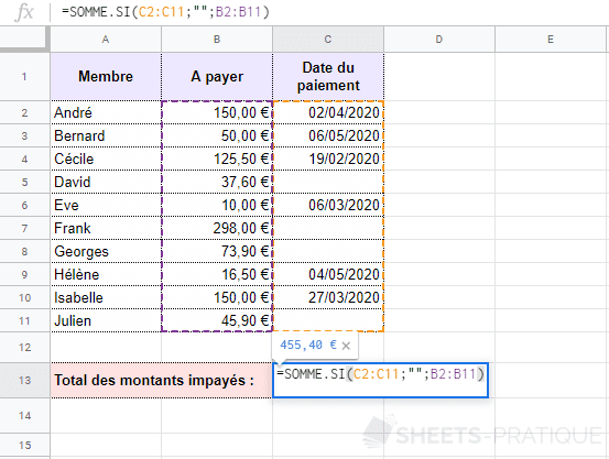 google-sheets-somme-si-vide - somme-si