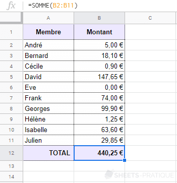 google-sheets-somme - somme