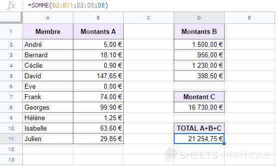 google sheets sommes multiples somme