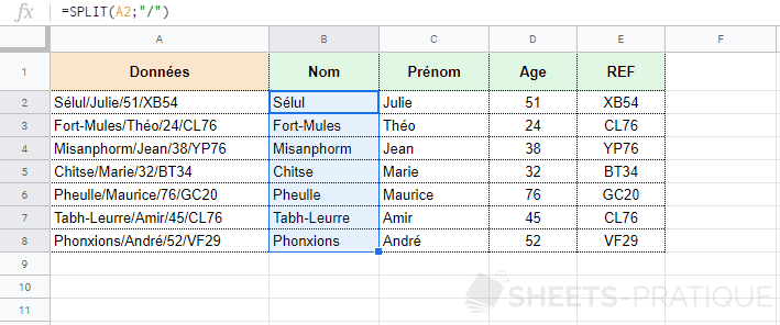 google-sheets-fonction-split-diviser - split