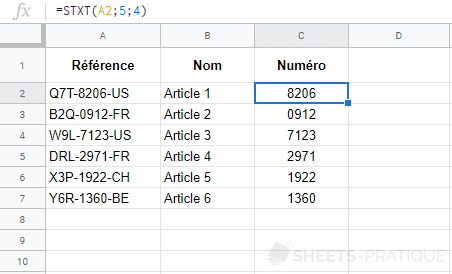 google sheets fonction stxt mid
