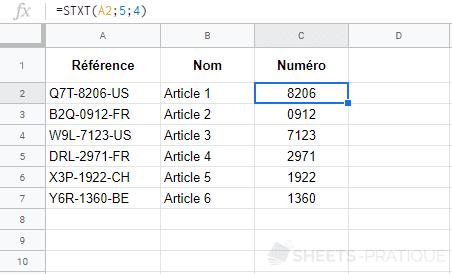 google-sheets-fonction-stxt-mid - stxt