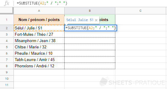 google sheets fonction substitue