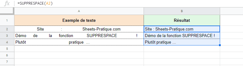 google sheets fonction suppression espaces supprespace