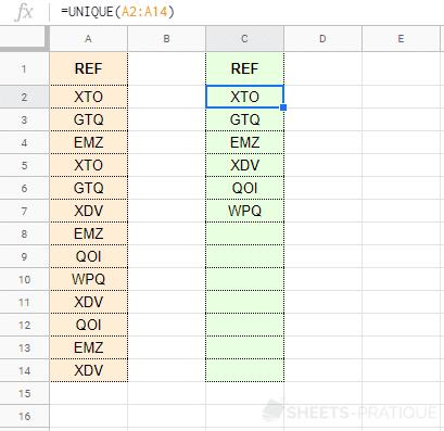 google-sheets-fonction-unique-cellules-doublons - unique