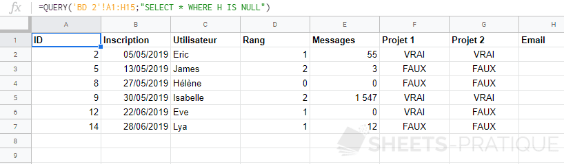 google sheets fonction query select is null complements