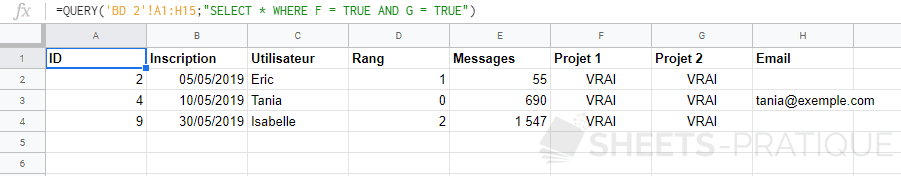 google sheets fonction query select true complements