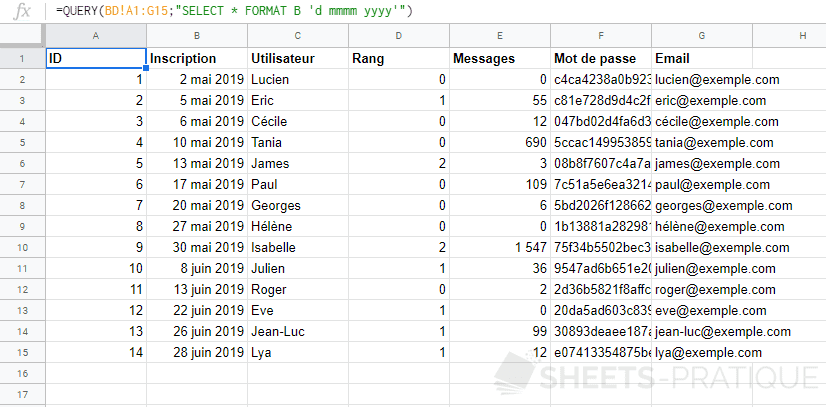 google sheets fonction query format date