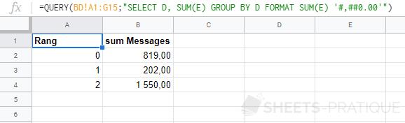google sheets fonction query format sum 2 decimales