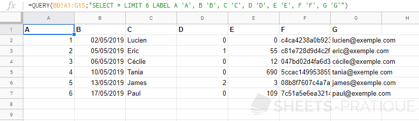 google sheets fonction query label colonnes