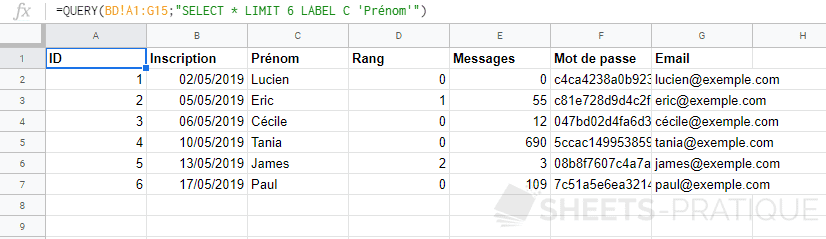 google sheets fonction query select label entete