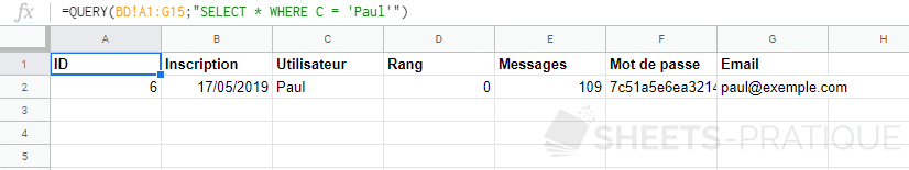 google sheets fonction query where like