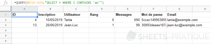 google sheets query where contains like